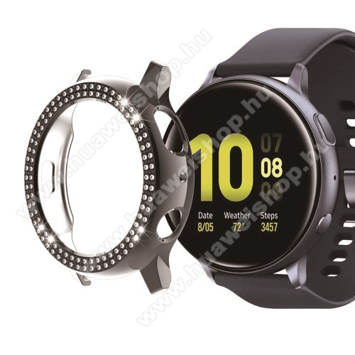Okosóra műanyag védő tok / keret - FEKETE - Strassz kővel díszített - SAMSUNG Galaxy Watch Active2 40mm