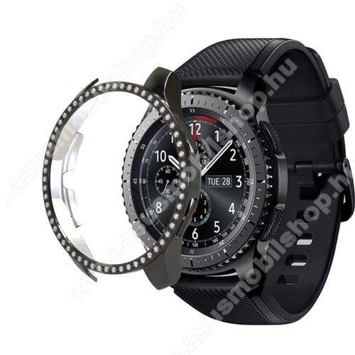 Okosóra műanyag védő tok / keret - FEKETE - Strassz kővel díszített - SAMSUNG Galaxy Watch 46mm / SAMSUNG Gear S3 Frontier