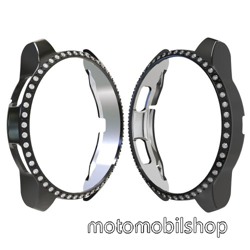 Okosóra műanyag védő tok / keret - FEKETE - Strassz kővel díszített - SAMSUNG SM-R810NZ Galaxy Watch 42mm