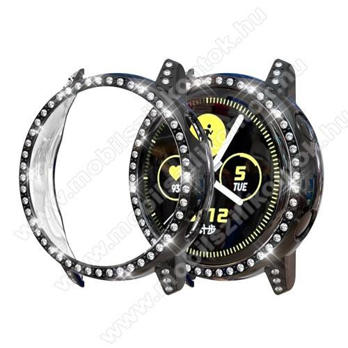 Okosóra műanyag védő tok / keret - FEKETE - Strassz kővel díszített - SAMSUNG SM-R500 Galaxy Watch Active