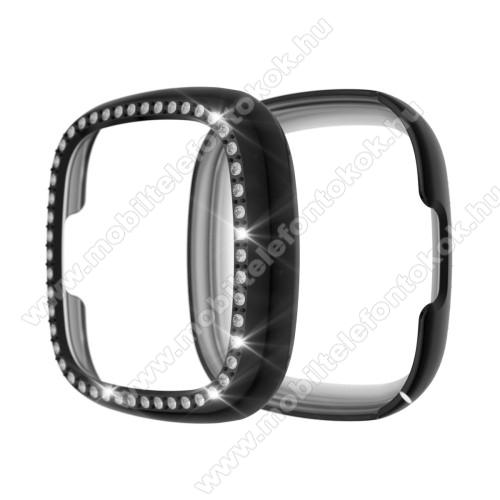 Fitbit Versa 3Okosóra műanyag védő tok / keret - FEKETE - Strasszkővel díszített - Fitbit Versa 3 / Fitbit Sense
