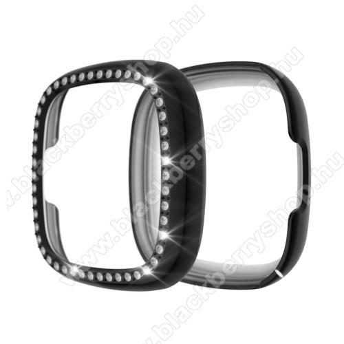 Okosóra műanyag védő tok / keret - FEKETE - Strasszkővel díszített - Fitbit Versa 3 / Fitbit Sense
