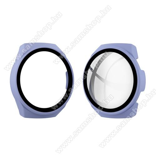 Okosóra műanyag védő tok / keret - LILA - 9H edzett üveg előlap védő is! - HUAWEI Watch GT 2e
