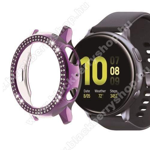 Okosóra műanyag védő tok / keret - LILA - Strassz kővel díszített - SAMSUNG Galaxy Watch Active2 44mm