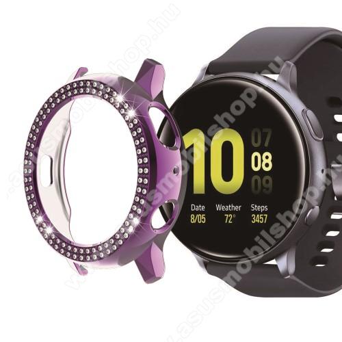 Okosóra műanyag védő tok / keret - LILA - Strassz kővel díszített - SAMSUNG Galaxy Watch Active2 40mm