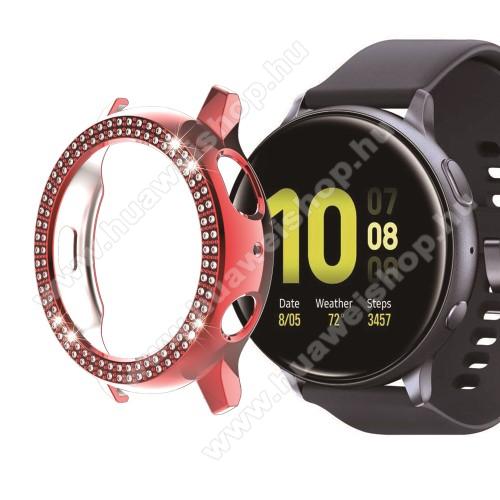 Okosóra műanyag védő tok / keret - PIROS - Strassz kővel díszített - SAMSUNG Galaxy Watch Active2 44mm