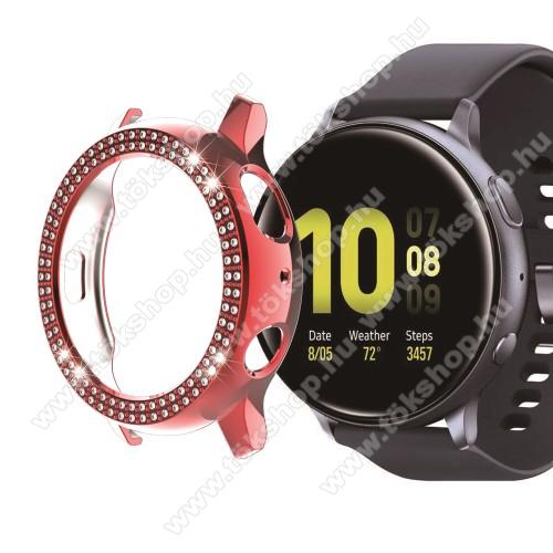 Okosóra műanyag védő tok / keret - PIROS - Strassz kővel díszített - SAMSUNG Galaxy Watch Active2 40mm