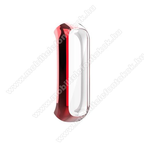 Okosóra műanyag védő tok / keret - PIROS - Szilikon előlapvédő is  - SAMSUNG Galaxy Fit 2 (SM-R220)