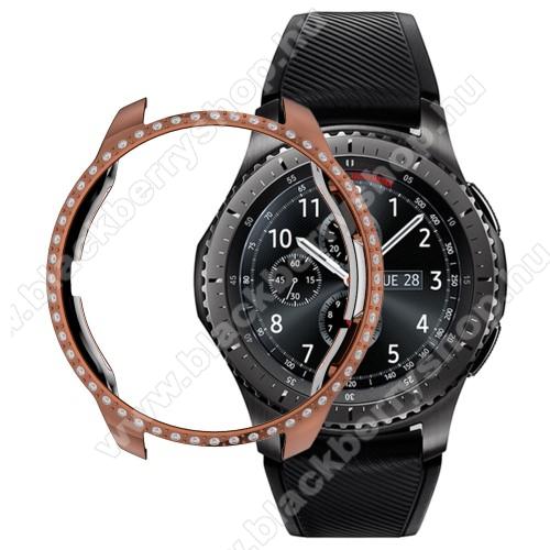 Okosóra műanyag védő tok / keret - ROSE GOLD - strasszkővel díszített - SAMSUNG SM-R810NZ Galaxy Watch 42mm