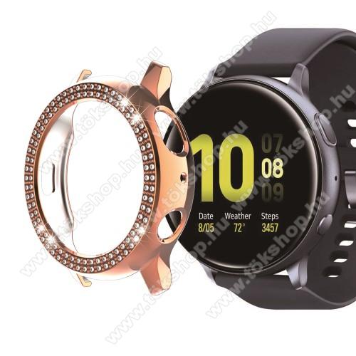 Okosóra műanyag védő tok / keret - ROSE GOLD - Strassz kővel díszített - SAMSUNG Galaxy Watch Active2 40mm