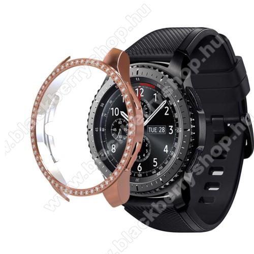 Okosóra műanyag védő tok / keret - ROSE GOLD - Strassz kővel díszített - SAMSUNG Galaxy Watch 46mm / SAMSUNG Gear S3 Frontier