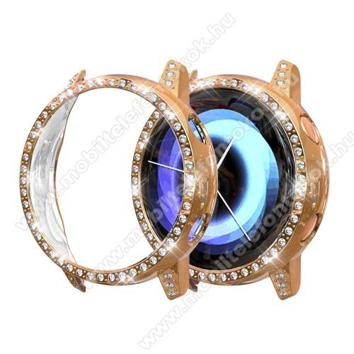 Okosóra műanyag védő tok / keret - ROSE GOLD - Strassz kővel díszített - SAMSUNG SM-R500 Galaxy Watch Active