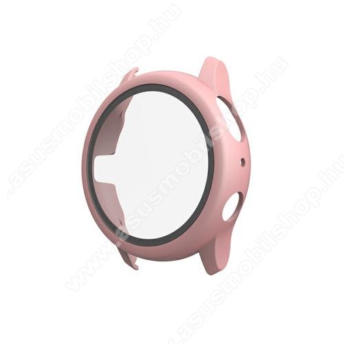 Okosóra műanyag védő tok / keret - ROSE GOLD - 9H edzett üveg előlap védő is! - SAMSUNG Galaxy Watch Active2 44mm