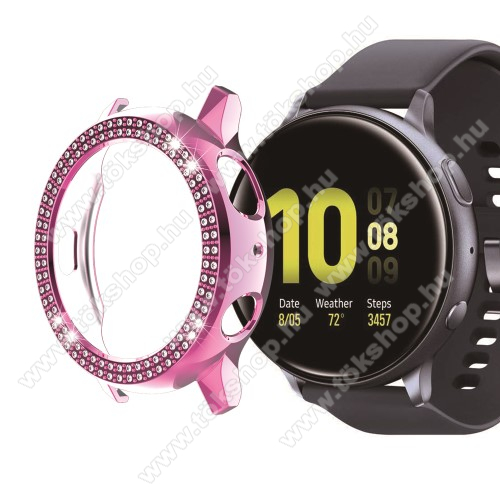 Okosóra műanyag védő tok / keret - RÓZSASZÍN - Strassz kővel díszített - SAMSUNG Galaxy Watch Active2 40mm