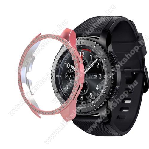 Okosóra műanyag védő tok / keret - RÓZSASZÍN - Strassz kővel díszített - SAMSUNG Galaxy Watch 46mm / SAMSUNG Gear S3 Frontier