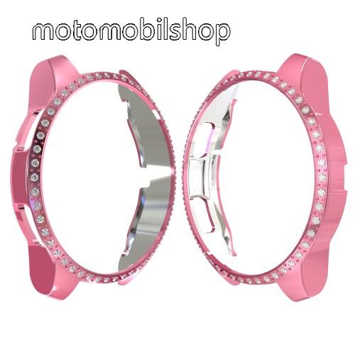 Okosóra műanyag védő tok / keret - RÓZSASZÍN - Strassz kővel díszített - SAMSUNG SM-R810NZ Galaxy Watch 42mm