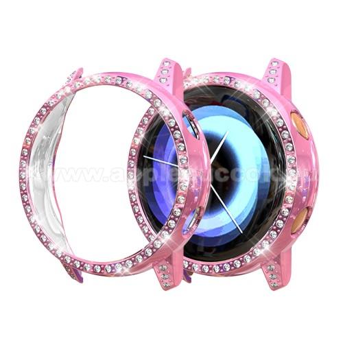 Okosóra műanyag védő tok / keret - RÓZSASZÍN - Strassz kővel díszített - SAMSUNG SM-R500 Galaxy Watch Active