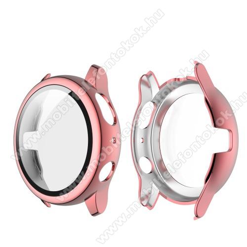 Okosóra műanyag védő tok / keret - RÓZSASZÍN - 9H edzett üveg előlap védő is! - SAMSUNG Galaxy Watch Active2 44mm
