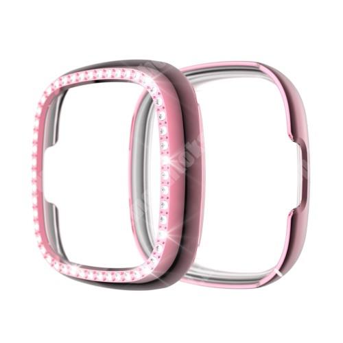 Okosóra műanyag védő tok / keret - RÓZSASZÍN - Strasszkővel díszített - Fitbit Versa 3 / Fitbit Sense