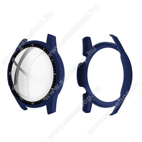 Okosóra műanyag védő tok / keret - SÖTÉTKÉK - 9H edzett üveg előlap védő is! - HUAWEI Watch GT 2 46mm