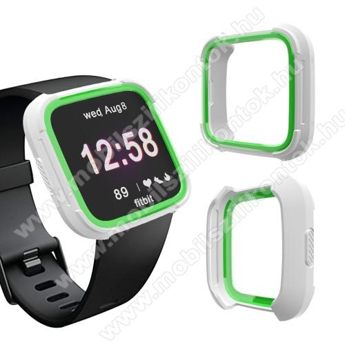Okosóra műanyag védő tok / keret - Szilikon betétes - Fitbit Versa / Fitbit Versa Lite - FEHÉR / ZÖLD