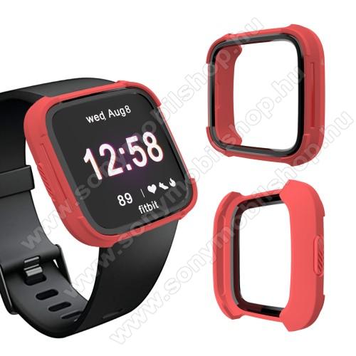 Okosóra műanyag védő tok / keret - Szilikon betétes - Fitbit Versa / Fitbit Versa Lite - PIROS / FEKETE
