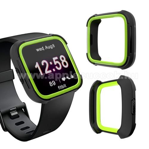 Okosóra műanyag védő tok / keret - Szilikon betétes - Fitbit Versa / Fitbit Versa Lite - FEKETE / ZÖLD