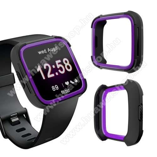 Okosóra műanyag védő tok / keret - Szilikon betétes - Fitbit Versa / Fitbit Versa Lite - FEKETE / LILA
