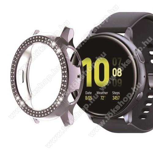 Okosóra műanyag védő tok / keret - SZÜRKE - Strassz kővel díszített - SAMSUNG Galaxy Watch Active2 40mm