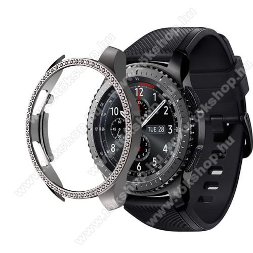 Okosóra műanyag védő tok / keret - SZÜRKE - Strassz kővel díszített - SAMSUNG Galaxy Watch 46mm / SAMSUNG Gear S3 Frontier