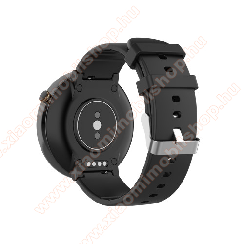 Xiaomi Amazfit Smartwatch 2Okosóra pót szíj - szilikon, 15mm széles - Xiaomi Amazfit Smartwatch 2 / Xiaomi Amazfit Verge 2 - FEKETE
