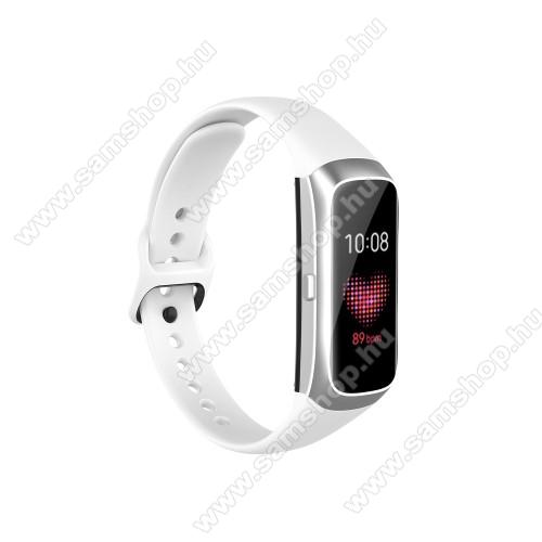 SAMSUNG Galaxy Fit (SM-R370)Okosóra pót szíj - szilikon - 17,3mm széles, 89mm+115mm hosszú - SAMSUNG SM-R370 Galaxy Fit - FEHÉR