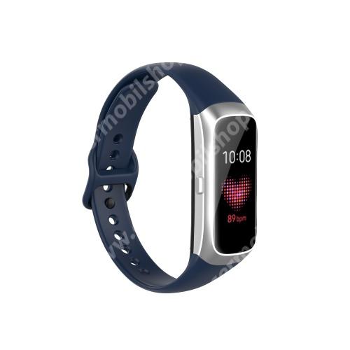 Okosóra pót szíj - szilikon - 17,3mm széles, 89mm+115mm hosszú - SAMSUNG SM-R370 Galaxy Fit - SÖTÉTKÉK