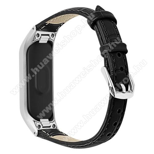 Okosóra pót szíj - valódi bőr - Huawei Honor Band 4 (CRS-B19) / Huawei Honor Band 5 (CRS-B19S) - FEKETE