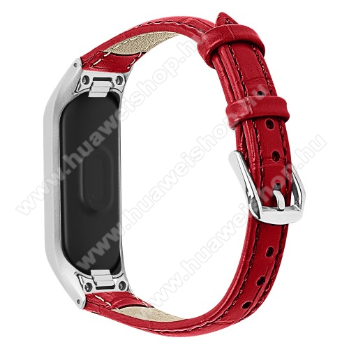 Okosóra pót szíj - valódi bőr - Huawei Honor Band 4 (CRS-B19) / Huawei Honor Band 5 (CRS-B19S) - PIROS