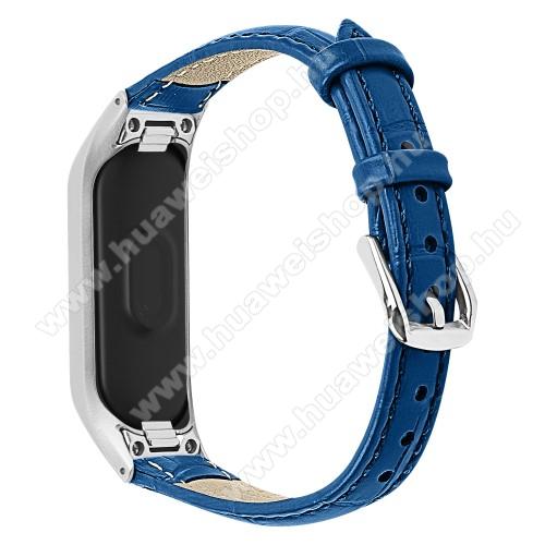 Okosóra pót szíj - valódi bőr - Huawei Honor Band 4 (CRS-B19) / Huawei Honor Band 5 (CRS-B19S) - SÖTÉTKÉK