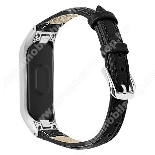 Okosóra pót szíj - valódi bőr - SAMSUNG SM-R375 Galaxy Fit e - FEKETE