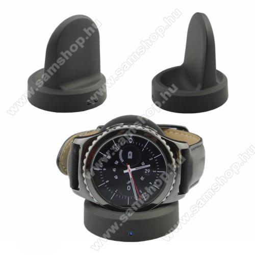 Okosóra QI Wireless asztali töltő állvány - 5W, 5V / 500 - 1000mAh - SAMSUNG Gear S3 Classic / SAMSUNG Gear S3 Frontier - FEKETE