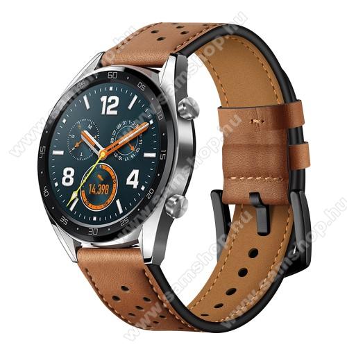 SAMSUNG Galaxy Watch3 45mm (SM-R845F)Okosóra rally szíj - BARNA - valódi bőr, légáteresztő - 96mm + 91mm hosszú, 22mm széles - HUAWEI Watch GT / HUAWEI Watch Magic / Watch GT 2 46mm