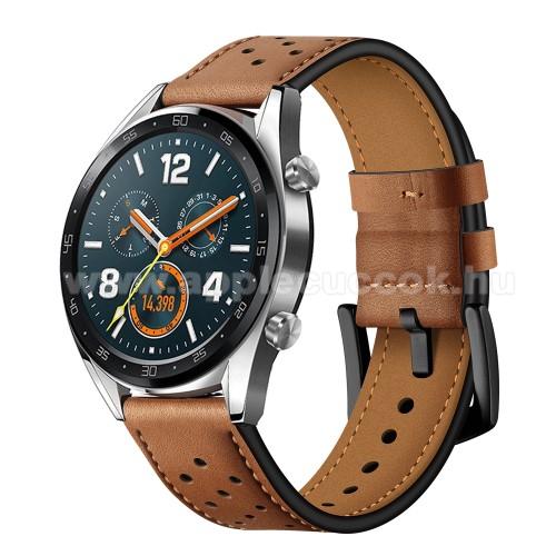 Okosóra rally szíj - BARNA - valódi bőr, légáteresztő - 96mm + 91mm hosszú, 22mm széles - HUAWEI Watch GT / HUAWEI Watch Magic / Watch GT 2 46mm