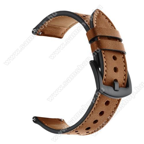 Okosóra rally szíj - BARNA - valódi bőr, légáteresztő - 80mm + 120mm hosszú, 20mm széles, 165-220mm-es csuklóméretig ajánlott - SAMSUNG Galaxy Watch 42mm / Amazfit GTS / Galaxy Watch3 41mm / HUAWEI Watch GT 2 42mm / Galaxy Watch Active / Active 2