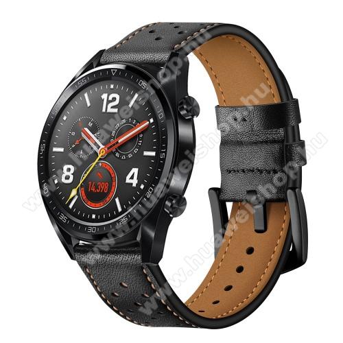 Okosóra rally szíj - FEKETE - valódi bőr, légáteresztő - 96mm + 91mm hosszú, 19mm széles - HUAWEI Watch GT / HUAWEI Watch Magic / Watch GT 2 46mm