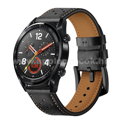 Okosóra rally szíj - FEKETE - valódi bőr, légáteresztő - 96mm + 91mm hosszú, 19mm széles - HUAWEI Watch GT / HUAWEI Watch Magic / Watch GT 2 46mm