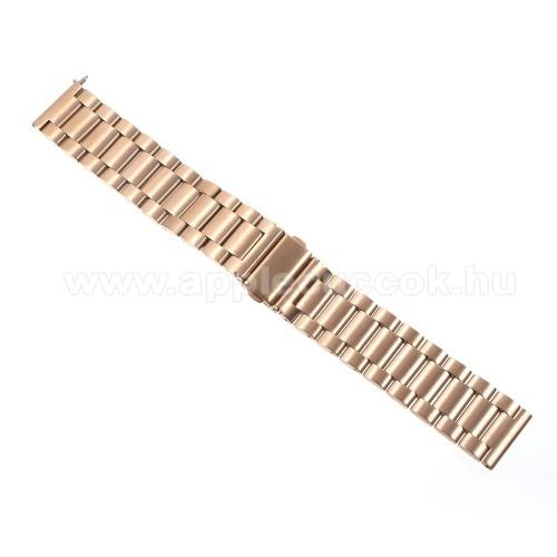 Okosóra szíj - ARANY - rozsdamentes acél, 24cm, 22mm széles - SAMSUNG Galaxy Watch 46mm / SAMSUNG Gear S3 Classic / SAMSUNG Gear S3 Frontier