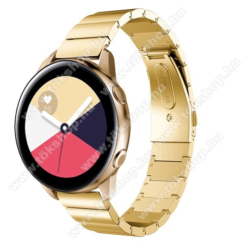 Okosóra szíj - ARANY - rozsdamentes acél, csatos - 177mm hosszú, 20mm széles - SAMSUNG Galaxy Watch 42mm / Xiaomi Amazfit GTS / SAMSUNG Gear S2 / HUAWEI Watch GT 2 42mm / Galaxy Watch Active / Active 2