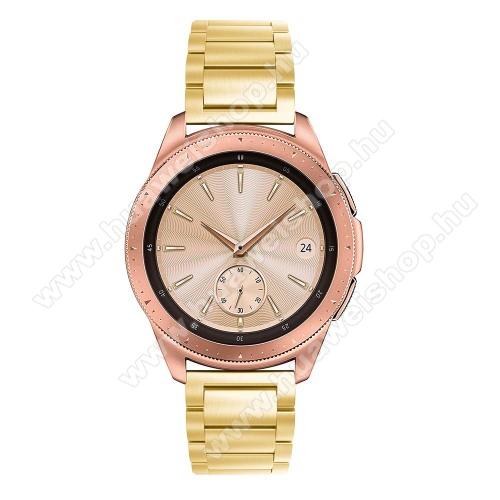 HUAWEI Watch GT 2 42mmOkosóra szíj - ARANY - rozsdamentes acél, pillangó csat, 175mm hosszú, 20mm széles, max 205mm-es csuklóra - SAMSUNG Galaxy Watch 42mm / HUAWEI Watch GT 2 42mm