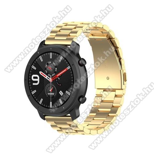 WOTCHI SmartWatch W22SOkosóra szíj - ARANY - rozsdamentes acél, pillangó csat - 190mm hosszú, 20mm széles, 155-205mm átmérőjű csuklóméretig - SAMSUNG Galaxy Watch 42mm / Xiaomi Amazfit GTS / SAMSUNG Gear S2 / HUAWEI Watch GT 2 42mm / Galaxy Watch Active / Active 2