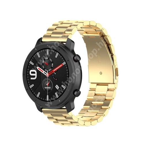 HUAWEI Honor MagicWatch 2 42mm Okosóra szíj - ARANY - rozsdamentes acél, pillangó csat - 190mm hosszú, 20mm széles, 155-205mm átmérőjű csuklóméretig - SAMSUNG Galaxy Watch 42mm / Xiaomi Amazfit GTS / SAMSUNG Gear S2 / HUAWEI Watch GT 2 42mm / Galaxy Watch Active / Active 2