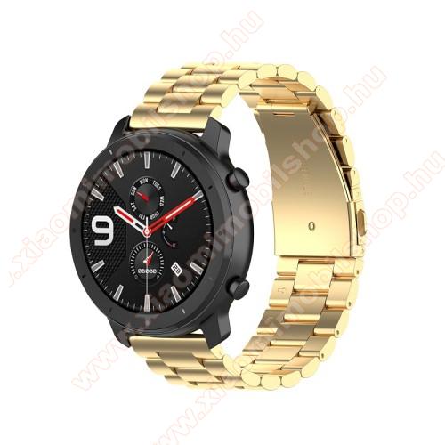 Xiaomi Amazfit Youth EditionOkosóra szíj - ARANY - rozsdamentes acél, pillangó csat - 190mm hosszú, 20mm széles, 155-205mm átmérőjű csuklóméretig - SAMSUNG Galaxy Watch 42mm / Xiaomi Amazfit GTS / SAMSUNG Gear S2 / HUAWEI Watch GT 2 42mm / Galaxy Watch Active / Active 2