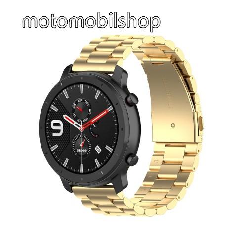 Okosóra szíj - ARANY - rozsdamentes acél, pillangó csat - 190mm hosszú, 20mm széles, 155-205mm átmérőjű csuklóméretig - SAMSUNG Galaxy Watch 42mm / Xiaomi Amazfit GTS / SAMSUNG Gear S2 / HUAWEI Watch GT 2 42mm / Galaxy Watch Active / Active 2